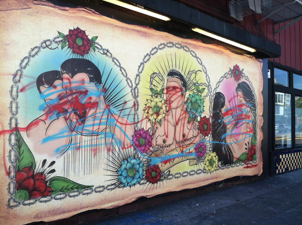 Located on 24th and Bryant, LBGT Mural has been defaced twice in one week. - San Francisco News