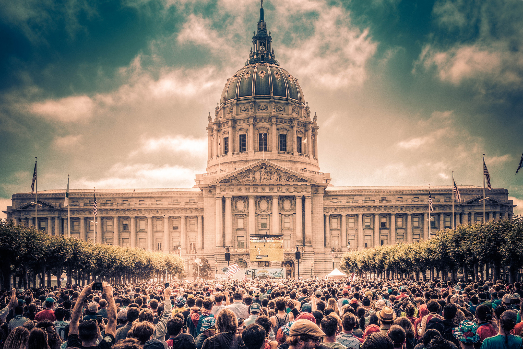 Thousands of San Franciscans gather to watch the Women's World Cup final on July 5, 2015. The San Francisco News