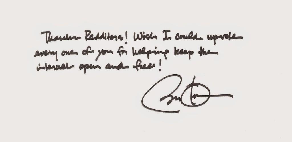 President Obama's hand written message to reddit.