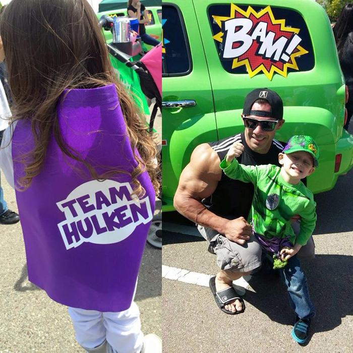 "A young member of ""Team Hulken"" comes out to fundraise for Colten ""Hulk"" Guerra's battle against cancer (left). Colten ""Hulk"" Guerra at his Superhero Fundraiser(right).<br>Photos courtesy of Theresa Addison via Facebook"