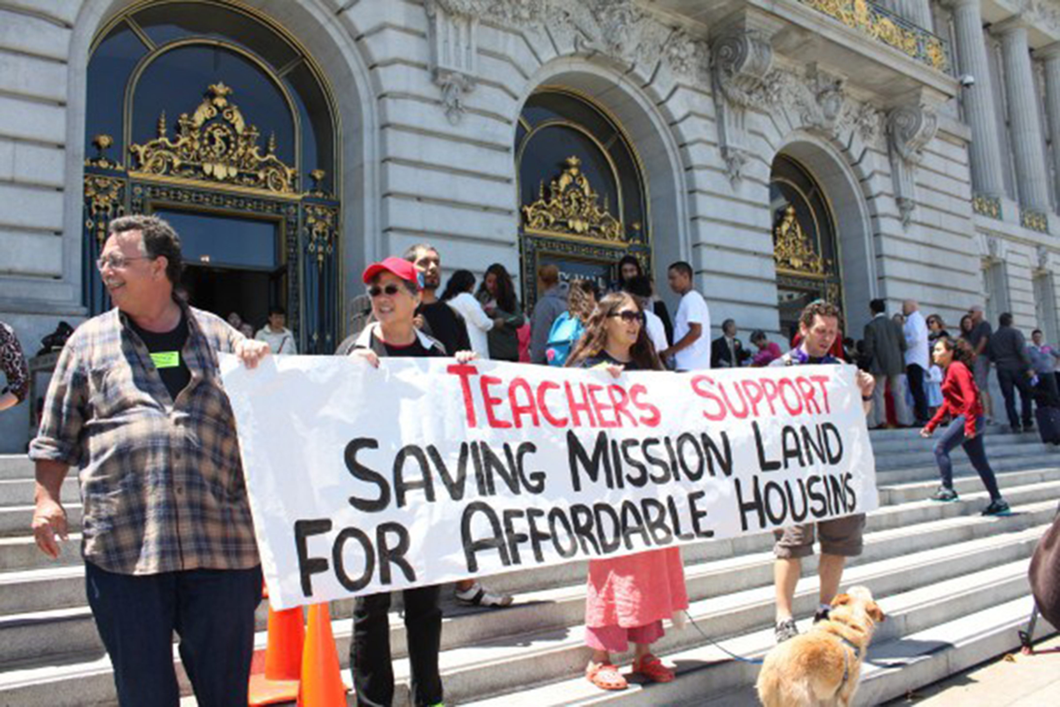 San Francisco teachers rally for affordable housing outside of San Francisco City Hall. The San Francisco News