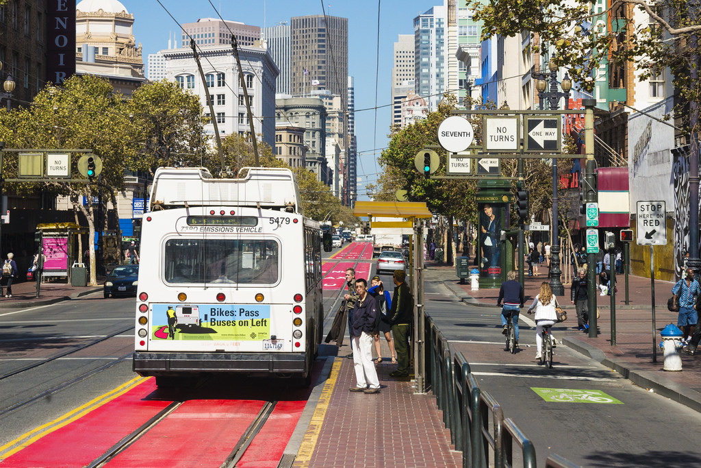 Photo of Market Street, looking east at Seventh Street. Photo: Sergio RuizThe San Francisco News