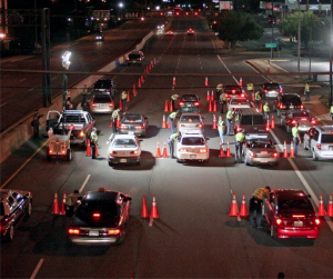 Police conducting a DUI checkpoint
