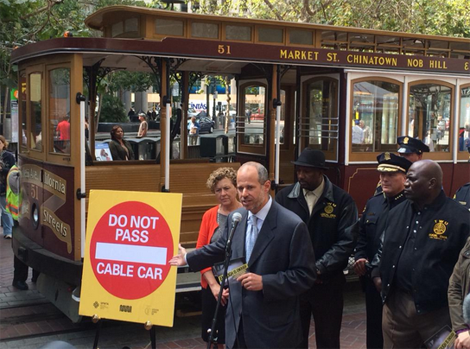 SFMTA's Ed Reiskin announces San Francisco's new Do Not Pass law as part of the Cable Car Safety Campaign. Photo courtesy of City of San Francisco @SFgov