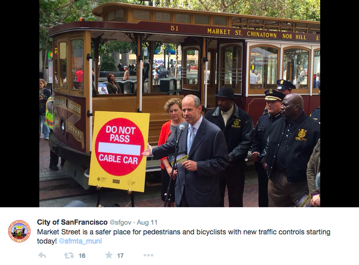 SFMTA's Ed Reiskin announces San Francisco's new Do Not Pass law as part of the Cable Car Safety Campaign. <br>Photo courtesy of City of San Francisco @SFgov