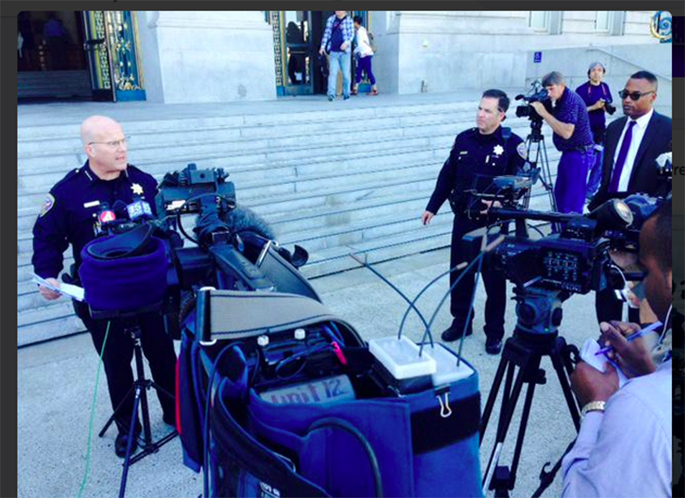 San Francisco Police Chief Greg Suhr makes a public statement about the arrest of one of the Pier 14 armed robbery and assault suspects.