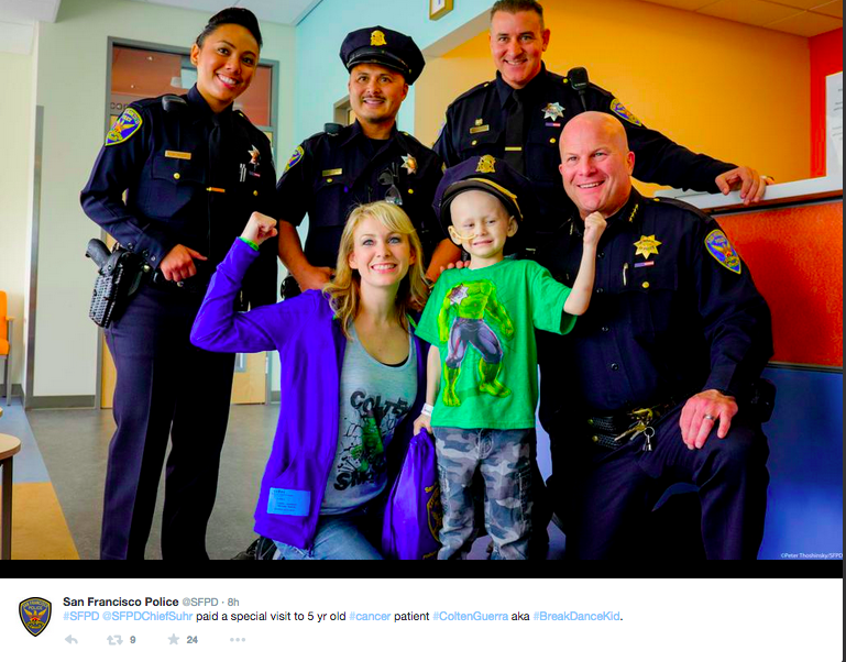 Colten Guerra poses with SFPD.<br>Photo courtesy of SFPD @SFPD via Twitter
