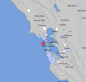 The 3.3M quake struck at a similar location to that of the infamous 1906 quake. Photo Courtesy of USGS