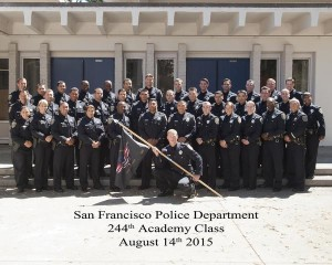 The SF Police Department tweeted a photograph of its 244th recruit class. Rodney and Ronney Freeman are in the back row, to the left center.