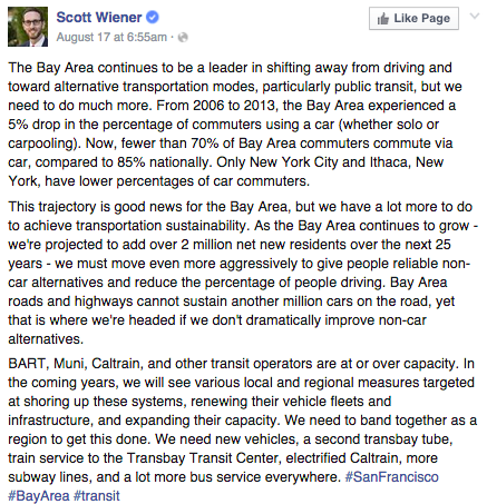 Scott Wiener speaks about San Francisco's  future improvements to increase use of public transportation.