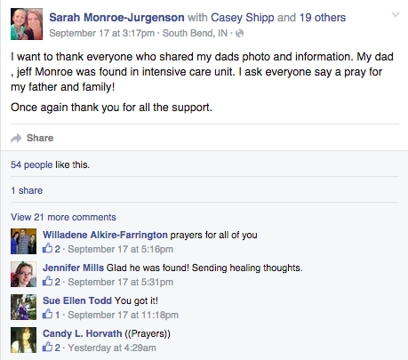 Sarah Monroe-Jurgenson writes a post updating her community about her father's whereabouts.