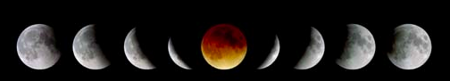 Totality is embraced by the partial phases of the 2000 total lunar eclipse. Photo by Frank Espenak.