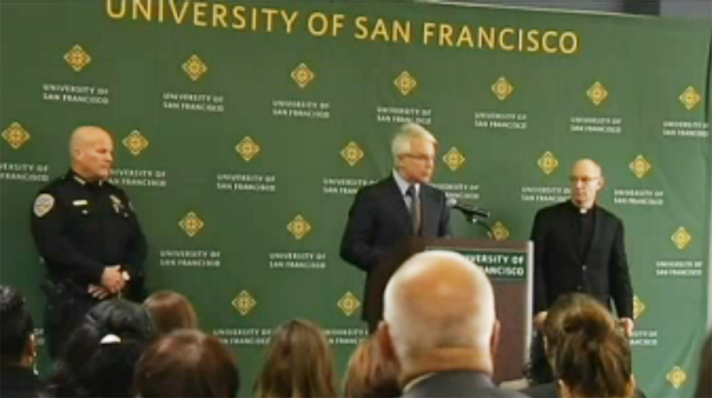District Attorney George Gascon speaks at the University of San Francisco about the new sexual assault memorandum.