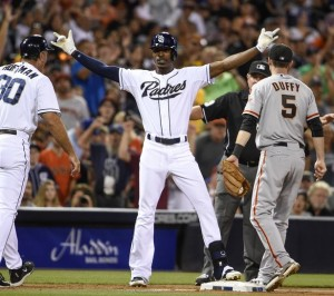 Melvin Upton Jr. would spoil Bumgarner's perfect game campaign in the eighth inning.