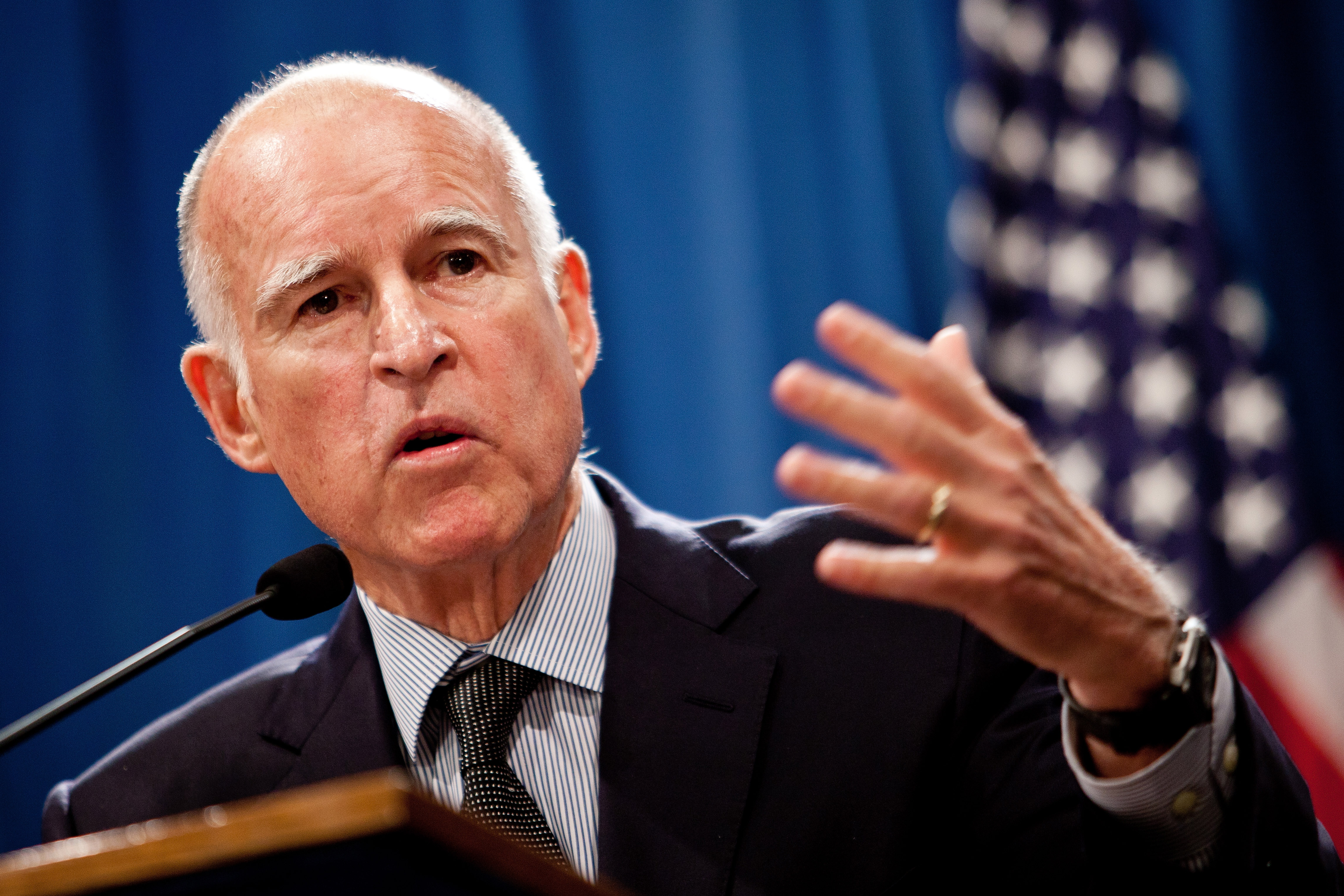 Democratic Governor, Jerry Brown. - JerryBrownPensionOverhaul102811-11