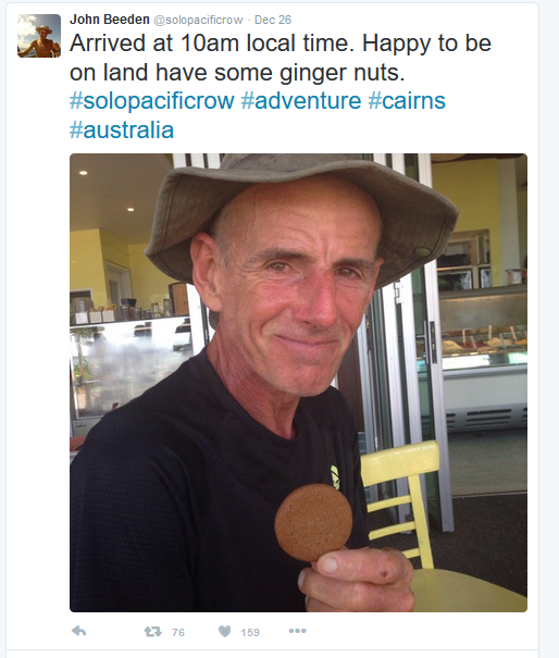 Explorer John Beeden tweets a celebratory gingersnap after arriving to Cairns, Australia after 209 days at sea. Photo by @SoloPacificRow via Twitter.