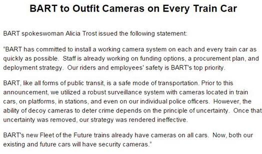 BART Spokeswoman Alicia Trost discusses the future of video surveillance on BART.