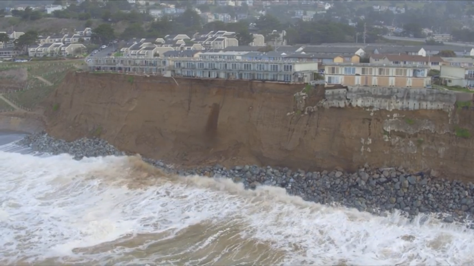 Effects of El Nino have threatened the homes on the coastal bluffs near San Francisco. City officials have declared the area to be in a state of emergency due to the coastal erosion, and are in the process of seeking federal assistance.