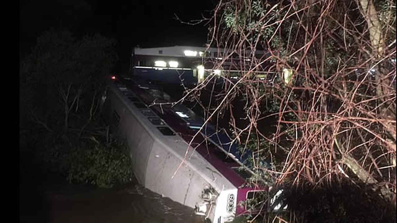 A Bay Area Altamont Corridor Express (ACE) commuter train derailed at approximately 7:15 p.m. on Monday, March 7. The cause of the crash is not completely clear, however initial investigations indicate the derailing was likely due to a large tree that fell onto the train tracks. Photo by: Alameda Fire Department