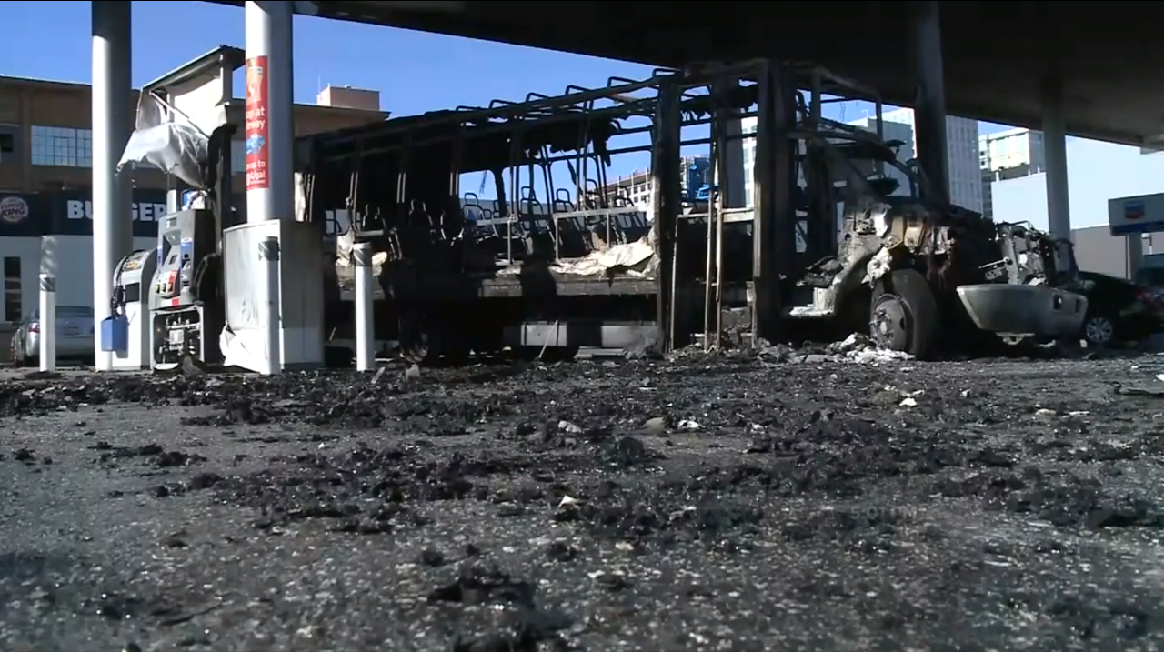 On Monday, February 29, a small passenger shuttle bus caught fire and caused flames and thick black smoke to destroy several gas station pumps at a Chevron station on Ninth and Howard streets.