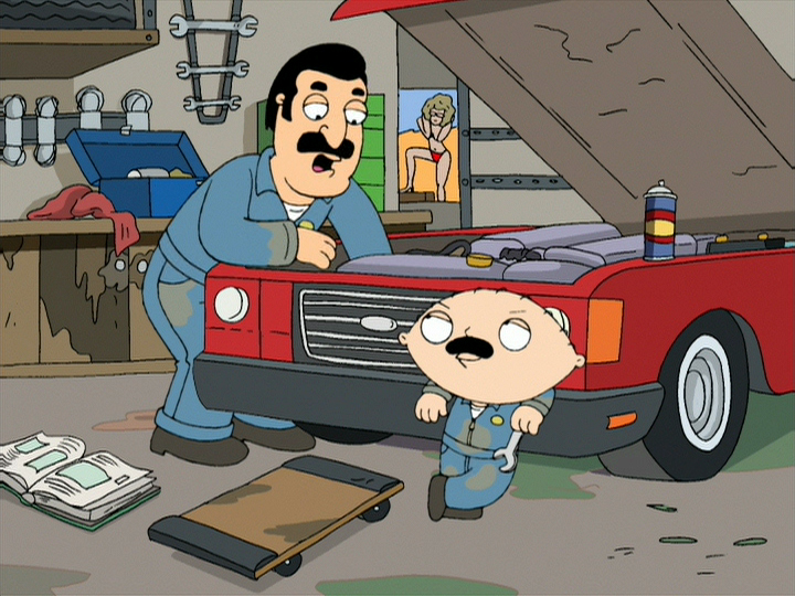 Stewie with Grease Monkey