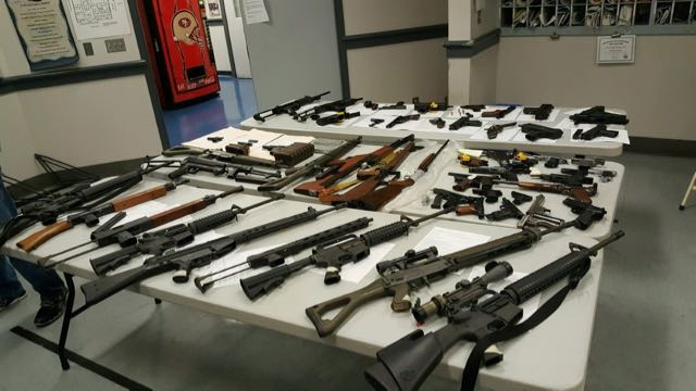 All the weapons seized from Dane's home. Photo courtesy of the SFPD.