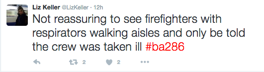 Passenger Liz Keller tweets about her experience.