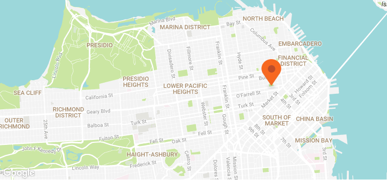 A map of the location of the Santa Paws event in Macy's Union Square in SF.