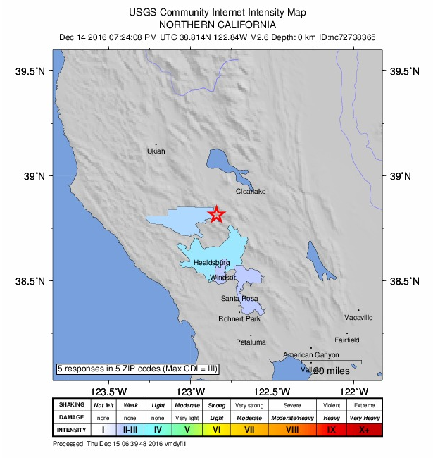 USGS map of reported earthquake.