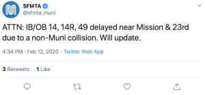 Muni tweets that there is a delay in traffic following the accident.