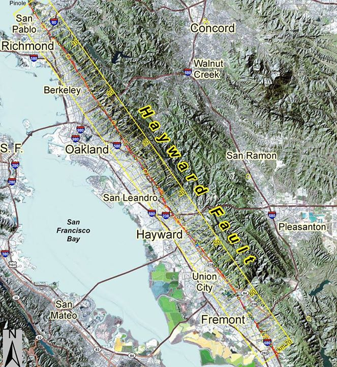 The Hayward Fault, which produced a 4.0-magnitude quake on Tuesday.