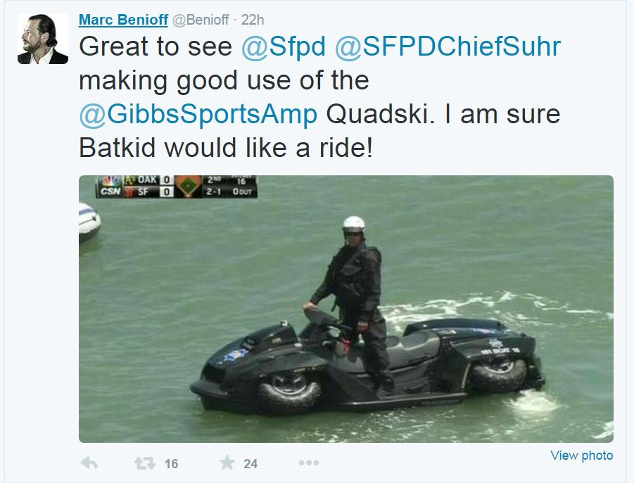 Sales Force CEO, Mark Benioff tweeted about the SFPD's debut showcase of the gifted Quadski.The San Francisco News