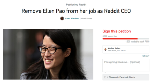 A screengrab of a  Change.org created to remove Pao as CEO of Reddit.