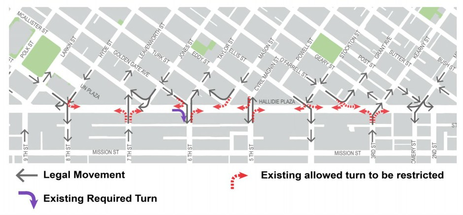 A map of changes to take place along Market and 3rd through 8th Street.<br>The San Francisco News