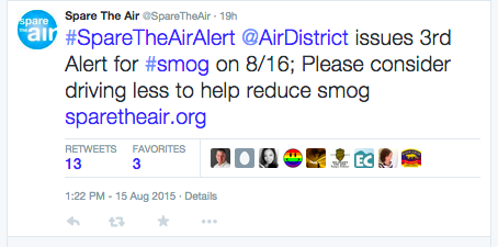 Spare the Air issued its third alert of the year for August 16 to help reduce smog in the Bay Area. <br>@SpareTheAir via Twitter<br>www.sparetheair.org