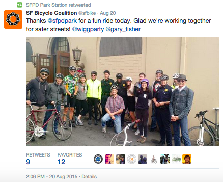 A group shot of Captain Sanford and local San Francisco cyclists.