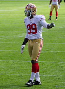 Aldon Smith played as the outside linebacker for the San Francisco 49ers. Photo by Mike Morbeck.