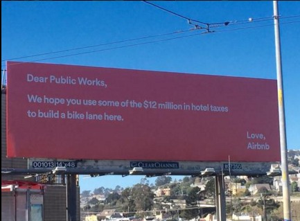 A billboard from Airbnb's advertising campaign against Proposition F. Photo by @murphstahoe via Twitter.
