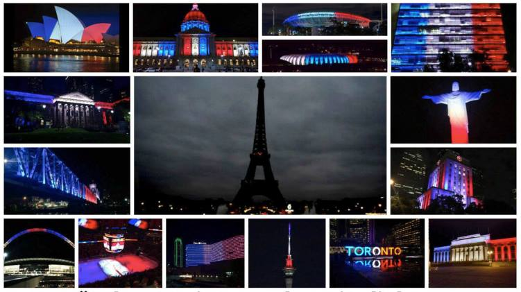 Monuments around the world light up to show solidarity after the terrorist attacks take place in Paris on November 13, 2015.