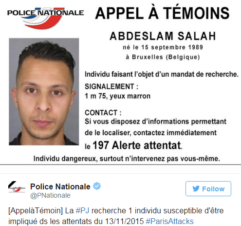 A tweet released of Abdeslam Salah by the French National Police, urging civilians to contact authorities if spotted.