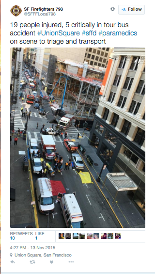 The San Francisco Fire Department released a picture of the tourbus wreckage on November 13, 2015. Photo by SF Firefighters 796, @SFFFlocal796 via Twitter