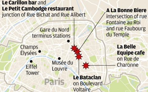 A map of the six ISIS-coordinated attacks that took place in Paris on November 13.
