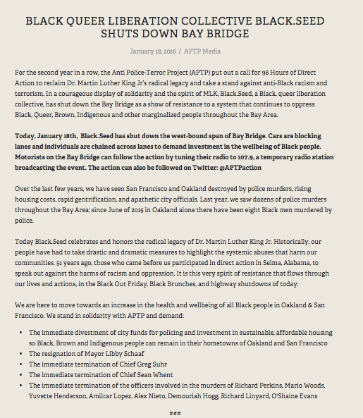 An official post advocating #ReclaimMLK from the Anti Police-Terror Project's website http://www.antipoliceterrorproject.org/new-blog/2016/1/18/black-queer-liberation-collective-blackseed-shuts-down-bay-bridge