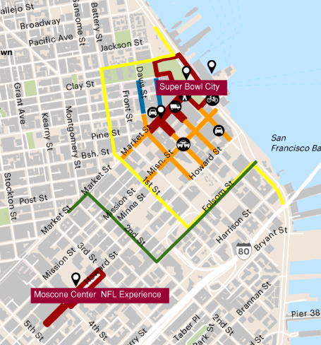 A map of San Francisco's road closures for Super Bowl 50.