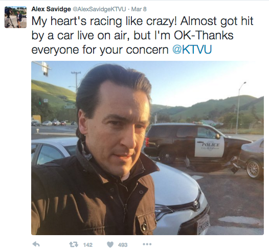 A post from Alex Savidge moments after he was nearly struck by a vehicle while reporting on air.