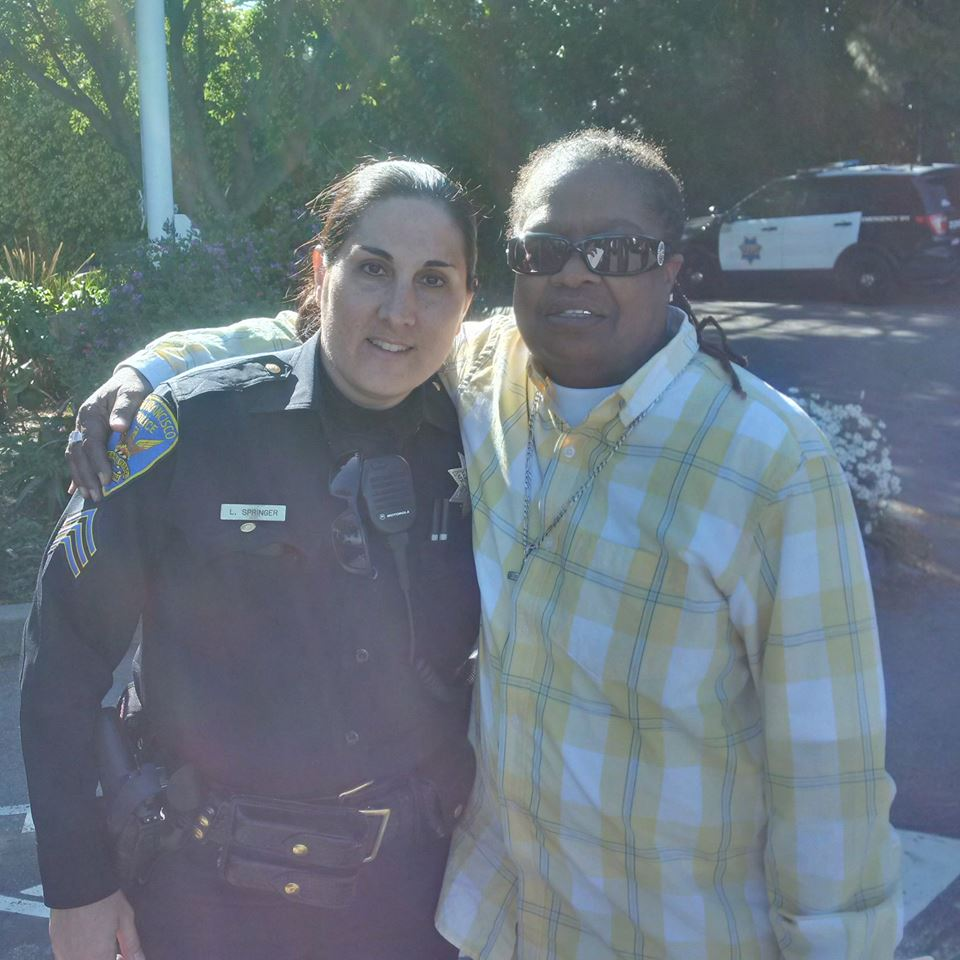 SFPD Sgt. Lisa Springer and San Franciscan Alice Caruthers. Photo courtesy of the SFPD.