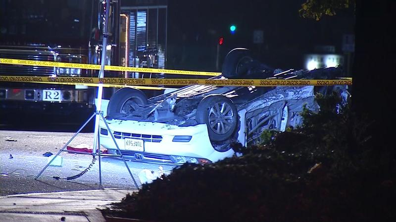 The aftermath of a police chase that started in San Francisco and ended in Sunnyvale, CA.