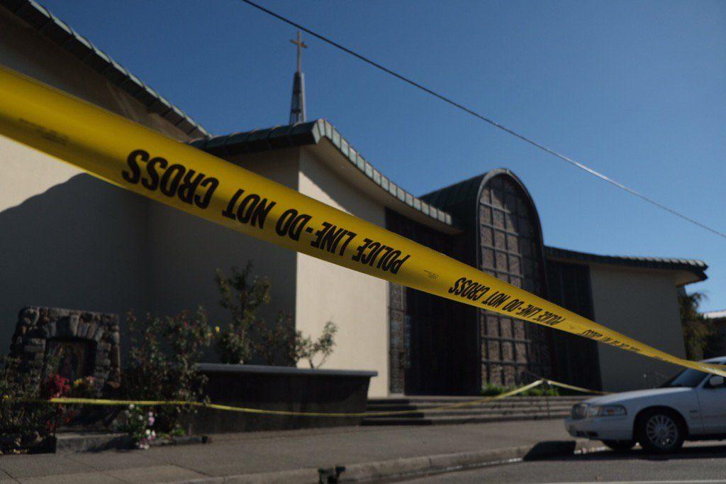 Local police officers taped off St John's Baptist Church, Healdsburg, CA