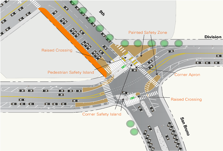 A diagram of the newly constructed protected intersections.