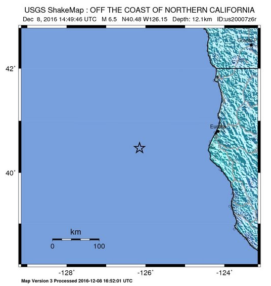 USGS ShakeMap of the earthquake from Thursday morning.